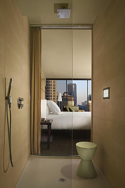 Standard Guestroom Shower with view into the bedroom