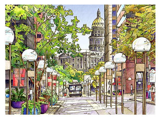Hand Rendering - 16th Street Mall, Denver, CO. (Watercolor, Mixed media)