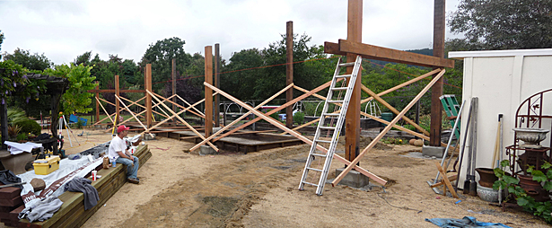 Arbor with 8x8 Redwood Posts and 2x10 Cross Ties