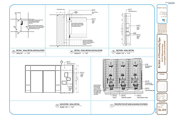 EL-04 Interior Elevations, Details + Perspective Dwg