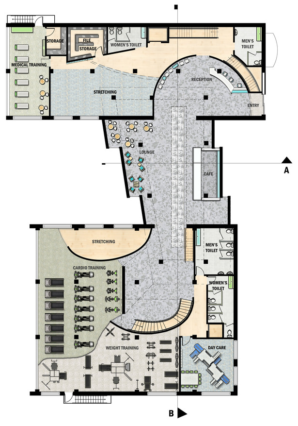 Floor plan drawn in CAD rendered in Photoshop