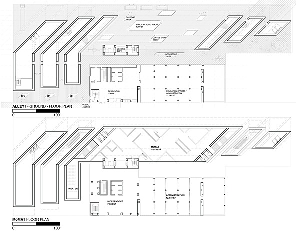 Ground Floor Plan - Alley 1 and Second Floor Plan - MoMA 1