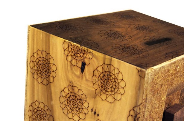 Custom made laser cut pattern decorates the housing.