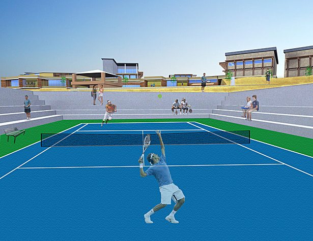 Stadium tennis court
