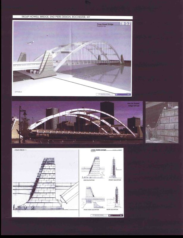 Computer Model, Photo of the bridge, Pier under construction, Elevations of a pier