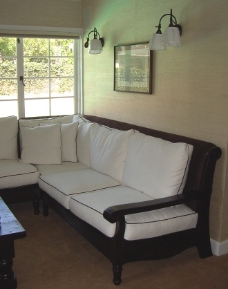 custom couch, reverses to brown with white for winter months, seagrass wallpaper