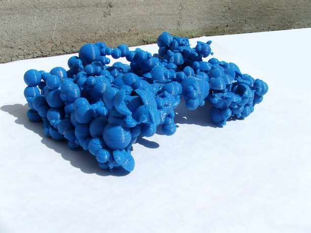 The 3d print of the Pavilion in blue ABS plastic