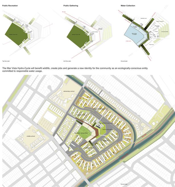 Site plan and floor plans for new recreation space and water capturing space