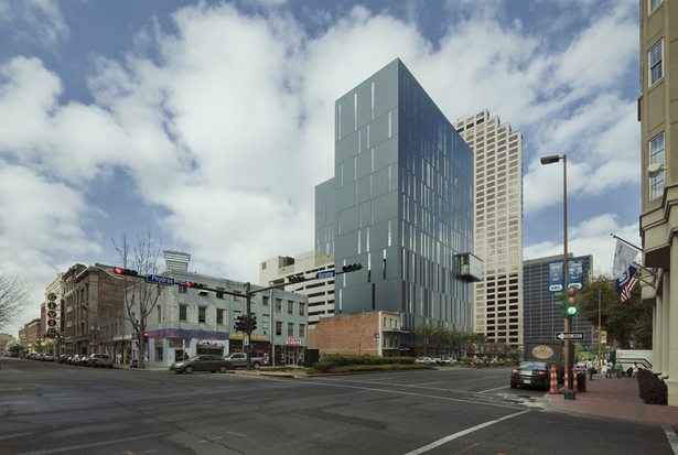 Exterior view from Poydras Street highlights the sustainable design considerations in the envelope design. 