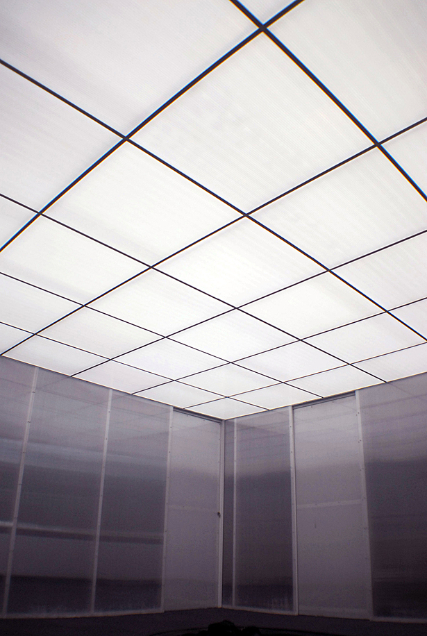 glowing polycarbonate ceiling, polycarbonate walls with pocket doors, reception area
