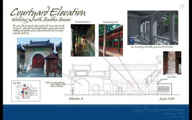 Schematic Design - Courtyard Elevation Walking with Buddha Queue