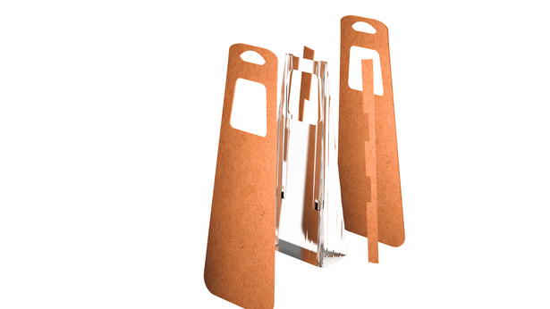 The cardboard Byn is composed of recycled cardboard and bioplastic.