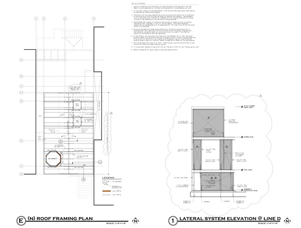 Roof and new rooftop deck framing plan and Line D shear wall elevation.
