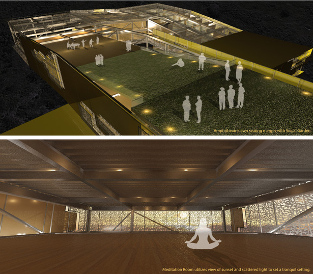 Two renderings the top showing the amphitheater that ramps down into the main space. The bottom rendering showing the interior space of one of the more private spaces.