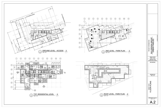 Floorplans of Ground, Park, Unit, and Roof Levels