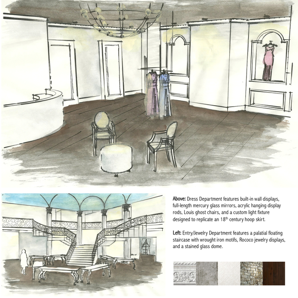 Interior perspective of the dress department and entry; material selections