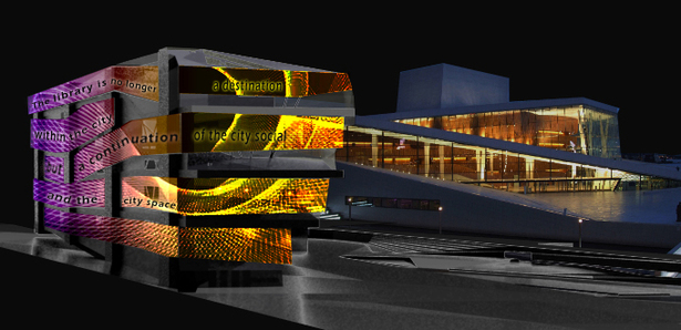 Library Wrapped in Media Mesh Projecting a Message | VRay Render, Photoshop