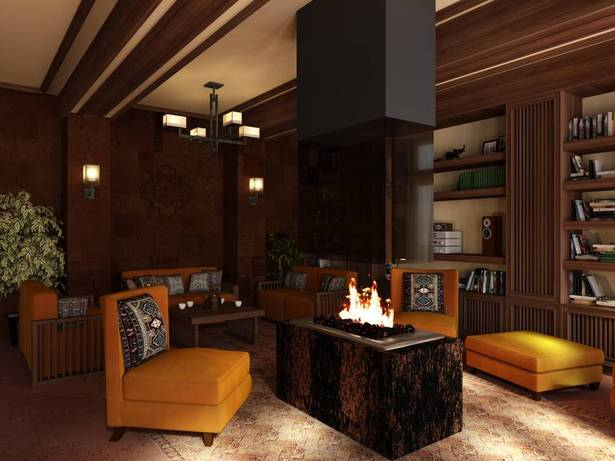 Library - fireplace area, visualization