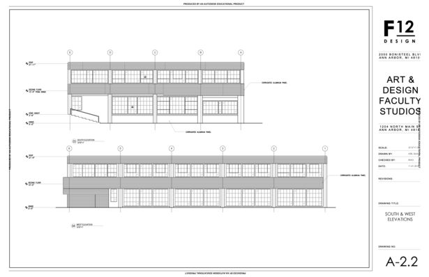 South and West Exterior Elevations