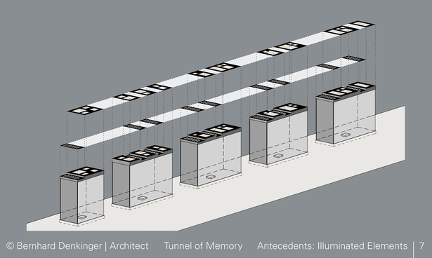 Antecedents: The entrance area and centre of the exhibition are highlighted by means of illuminated elements.