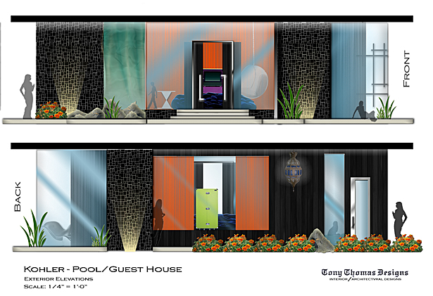KOHLER GUEST/POOL HOUSE - EXTERIOR ELEVATIONS