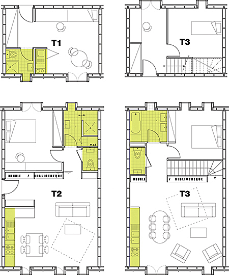 Typical Floor Plans - Units T1 T2 T3 