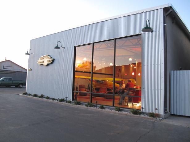 Mystery Hangar at dusk