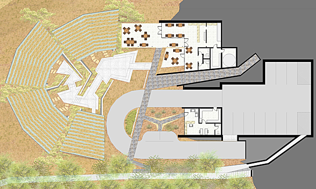 upper level plan of office, cafe, and parking