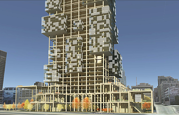 Exterior rendering showing the transparency vs. opacity of the smart glass wall system