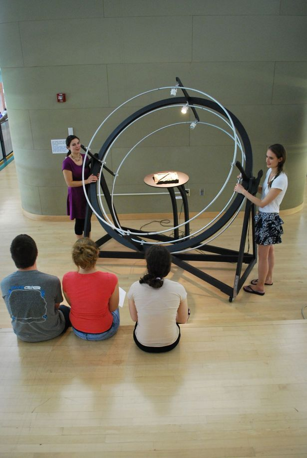 Kara Knechtel (left) and Dominique Doberneck (right) demonstrating the use of the heliodon to third year students, using a site model from their current studio project.
