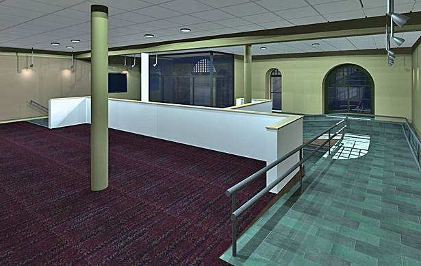 Rear view of the new lobby