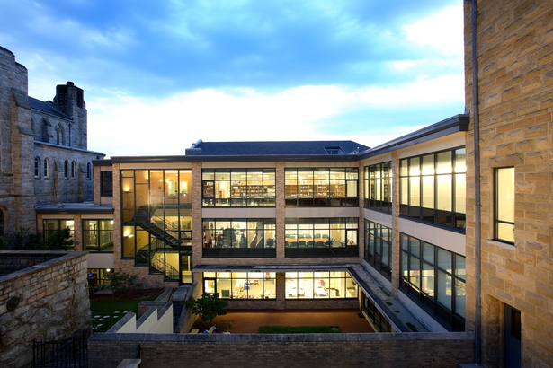 View of existing/new multilevel courtyard