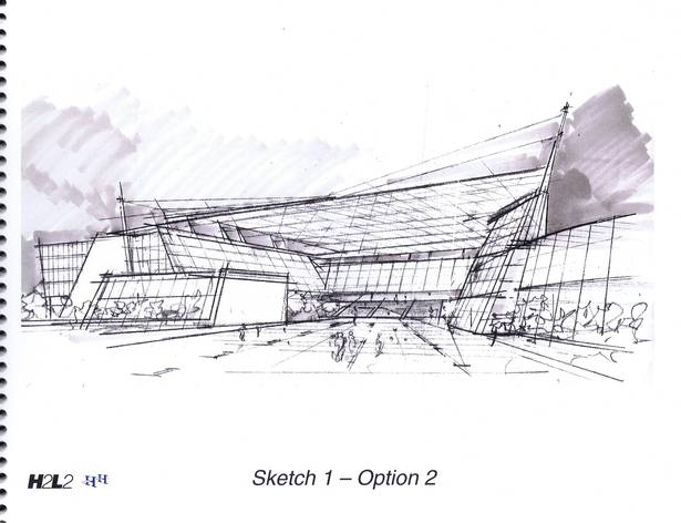 Sketch, view from covered plaza