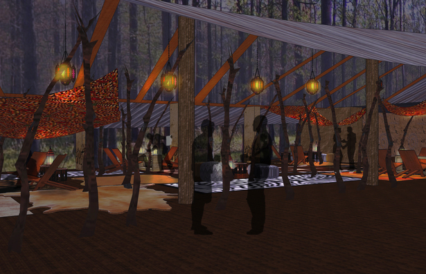 The lounge, at nightime, inspired by the nomads of West Africa, with a tent like feel and lit with lanterns