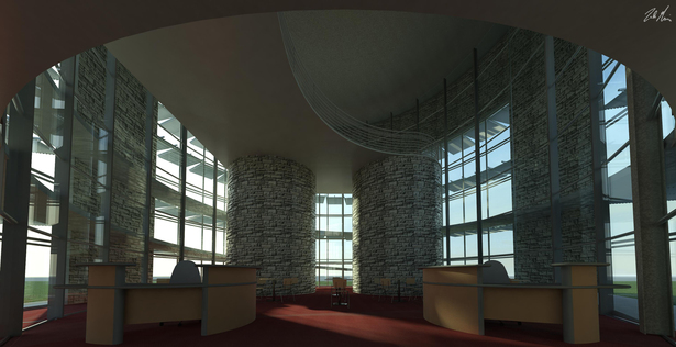 Library Main Entrance - Interior View