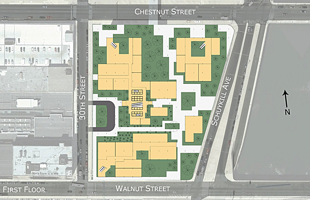 1st floor plan showing the multiple elevator cores and retail spaces