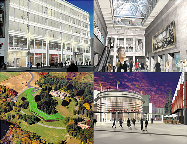 1. Union Sq Office & Retail Complex, 2. CMA Museum Interior, 3. New England Biolab Aerial View, 4. Expo Center Entrance