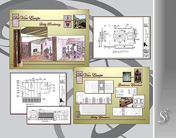 Floor Plan for a Hotel Room with Material Board and RCP