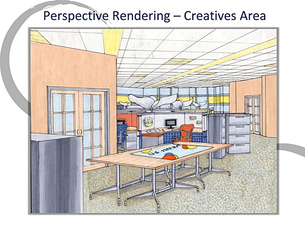 Opened Office Area Perpective Rendering