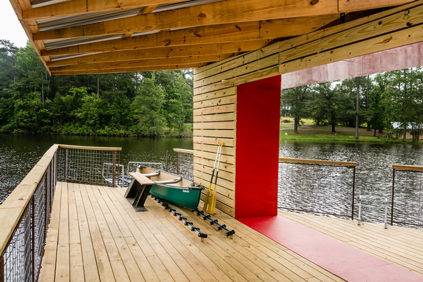 The red frame is the threshold. A camper must overcome any fears or self-doubt before crossing that line. When they return, they are empowered to become mentors for the next group of campers. Once through the threshold, independence is key. The bench swivels over the canoe slip to allow campers with upper body mobility to independently transition from a wheelchair to the water and back, without counselor assistance.