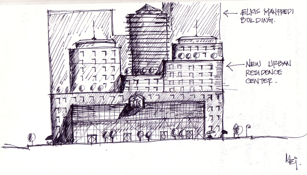 A sketch of my proposed commercial center in the middle of Fenway .