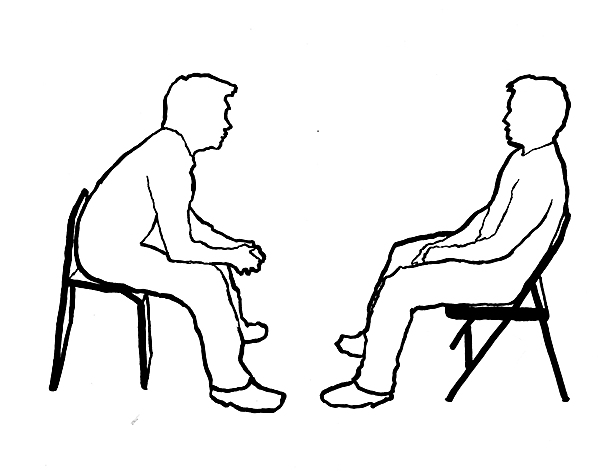The chairs force the participants forward, encouraging an engaged conversation