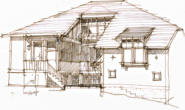 Study Sketch for 2 Rear Addition Bays