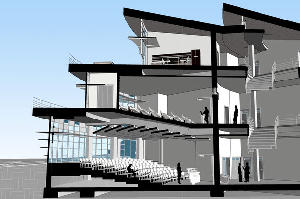3D section of the auditorium, large classrooms, and offices