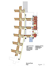 Hospital Plan showing campus parti, living units, community spaces, and public interface