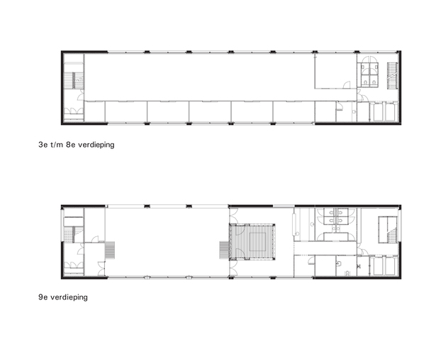 Claus en Kaan Architecten / from Third to Eighth Floor plans + Ninth Floor plan