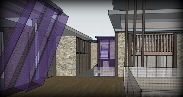 first floor terrace(slanted purple glass windows of the gym)
