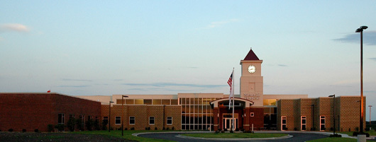 The clock tower identifies the facility from the highway. 