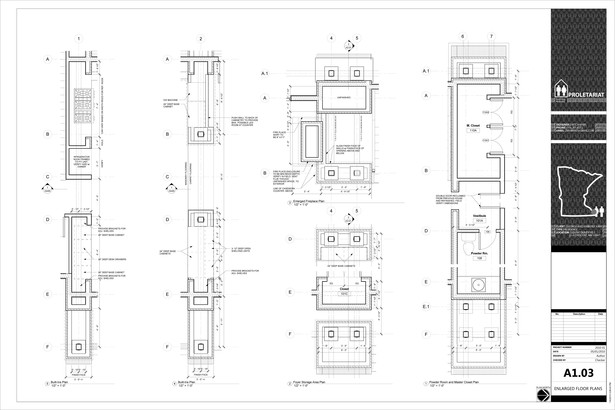 Karr Residence. Construction Drawings. Enlarged Floor Plans.