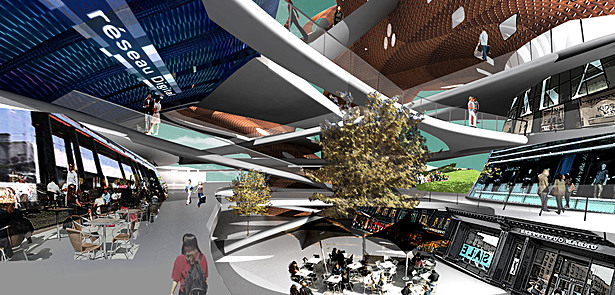 Collage rendering of central courtyard